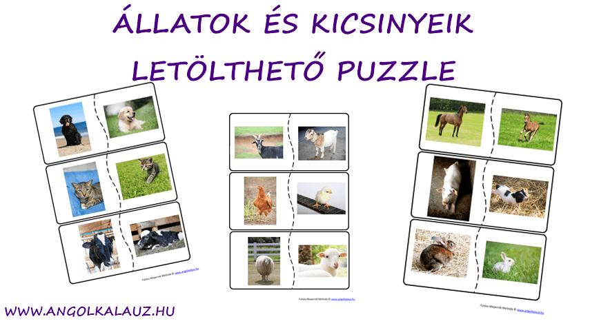 Állatok és kicsinyeik angolul – Játék: Letölthető puzzle