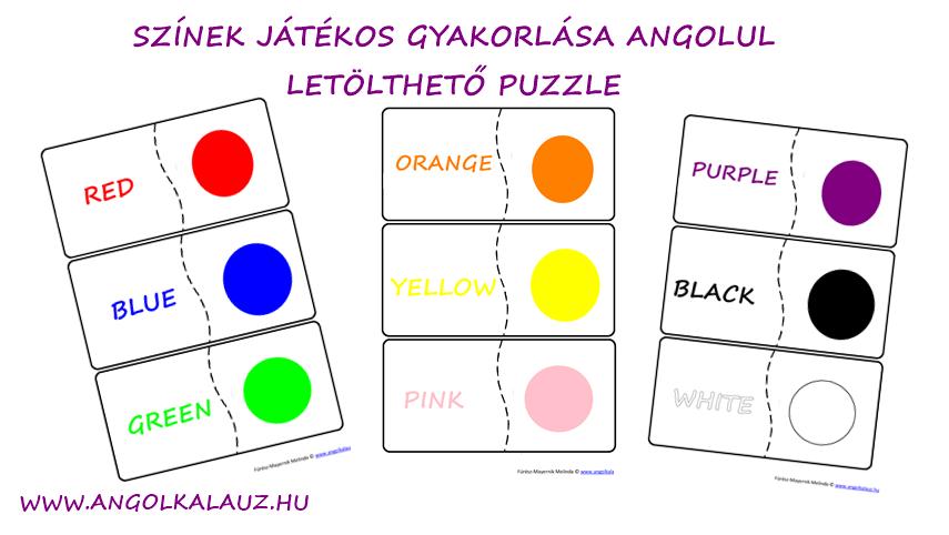 Színek játékos gyakorlása angolul – Letölthető puzzle