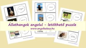 Állathangok angolul – Letölthető puzzle